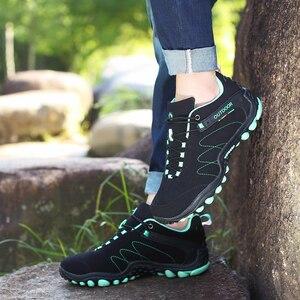 Image 3 - סנטה אביב נעלי הליכה גברים נשים עמיד למים נעלי התנגדות ללבוש טיפוס הרי נעלי עור ספורט סניקרס טרקים אתחול
