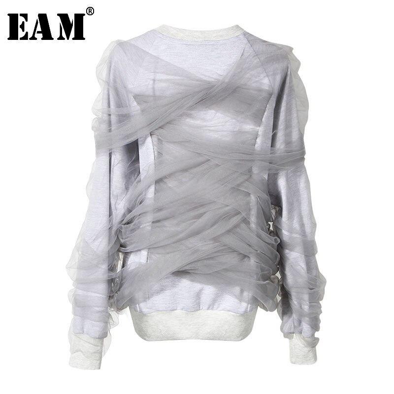 [EAM] 2020 New Spring Round Neck Long Sleeve  Gray Mesh Around Split Joint Loose Sweatshirt Women Fashion Tide JG893