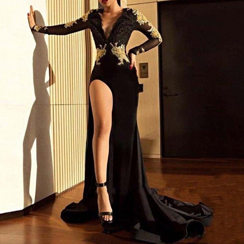 Vestidos V Neck Mermaid Evening Dresses Long Sleeve Court Train Gold Lace Evening Dress Slit Formal Gown Abiye Kaftan