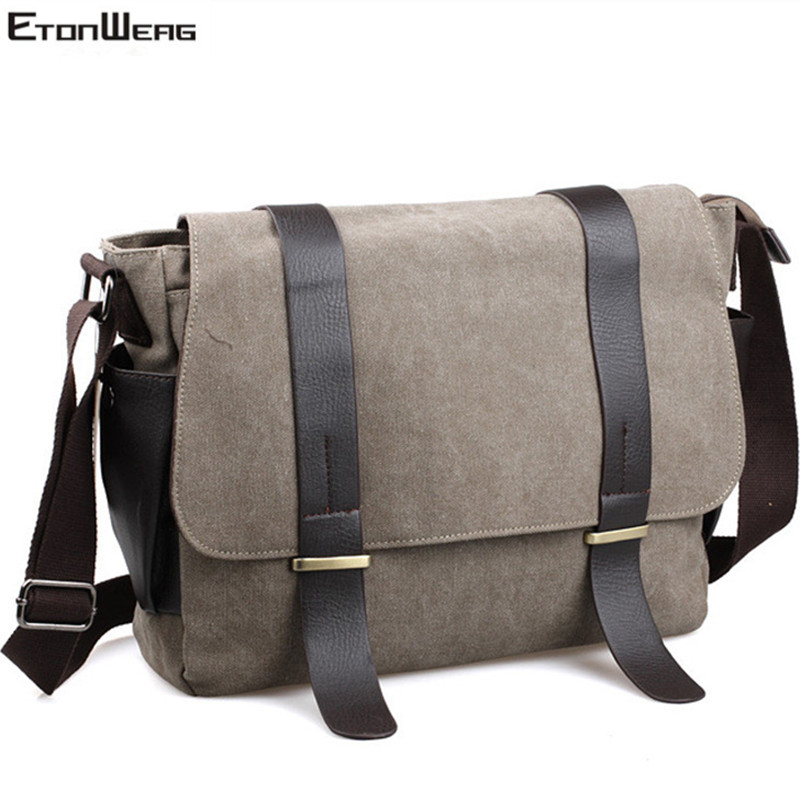 Men's Brand Canvas Messenger Bag Casual Designer Shoulder Bag Women Vintage Large Solid Crossbody Bags Business Laptop Bag Retro