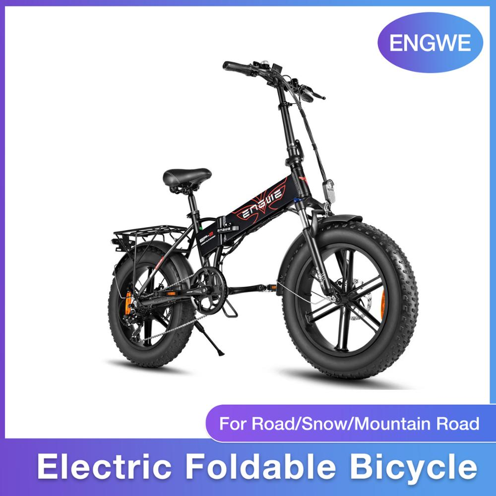 Electric Foldable Bicycle Snow Bike 500W 48V Removable Battery Rechargeable ENGWE Electric Bicycle For Snow/beach/mountain Road