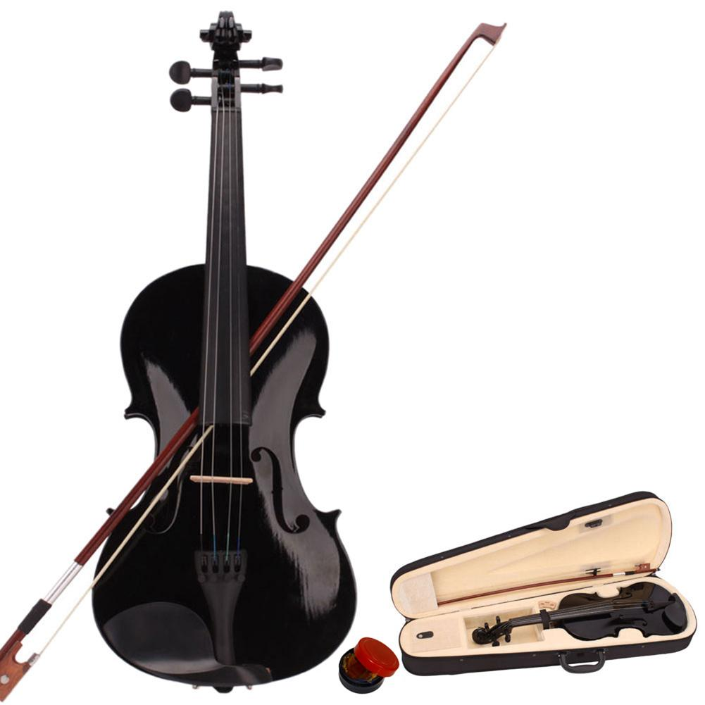 Basswood 4/4 Black Acoustic Violin With Carrying Case + Bow + Rosin For  For Strings Instrument Violin Beginners Children Gifts