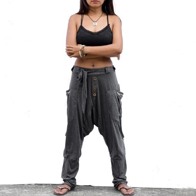 Women Pants Fashion Casual Trousers Lady Comfy Beach Boho Pants With Pockets Solid Baggy Long Pants Femme Elastic Cross Pants