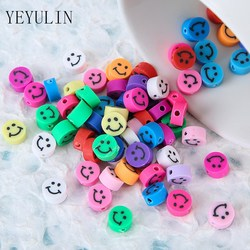 50Pcs Multicolor Round shape smile Polymer Clay Beads for Jewelry Making Girls DIY Bracelet Loose Round Candy Beads
