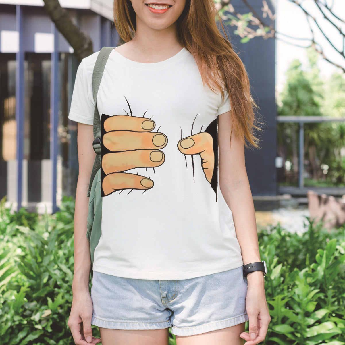 Sondirane ใหม่มาถึง 3D มือกราฟิก Tees ผู้หญิงฤดูร้อนแขนสั้น Harajuku T เสื้อลำลองตลก Tees PLUS ขนาด