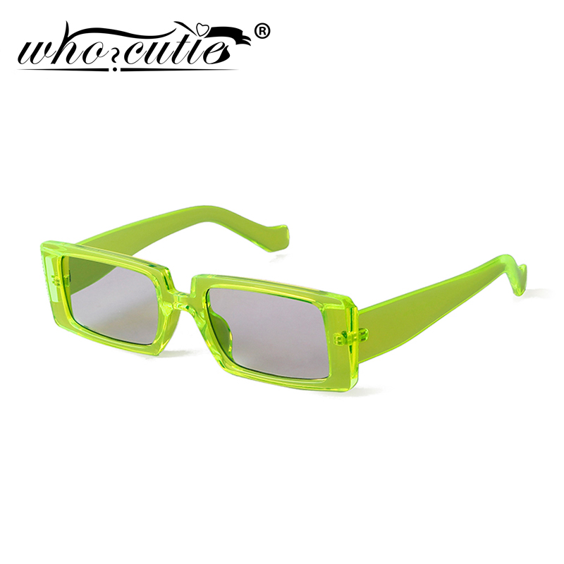 WHO CUTIE 2020 Green Rectangle Sunglasses Women Brand Design 90s Vintage Rectangular Frame Fashion Wide Sun Glasses Female S186
