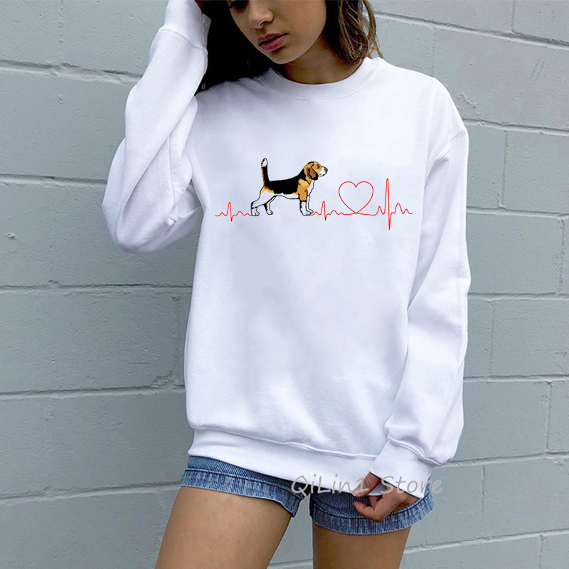 Funny Beagle Love EKG Hoodies Women Harajuku Kawaii Graphic Hoodie Woman Round Neck Long Sleeve Tracksuit Sweatshirt Moletom