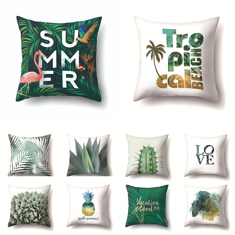 Creative Plant Printed Cushion Cover 45*45 Sofa Cushions Office Pillow Cases Polyester Home Decor Pillow Covers Kd-0129