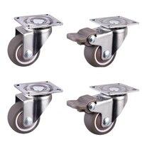 4 peças rodas rodízios móveis rodízios rodízios de borracha macia roda de rolo de prata para plataforma cadeira do trole do agregado familiar accessori|Rodízios| |  -