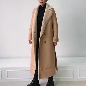 Image 4 - EI BAWN 2020 chaqueta de invierno de cuero genuino piel de oveja caqui abrigo largo chaqueta de piel de oveja cinturón cálido oveja chaqueta de pelo sobretodo