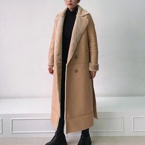 Image 4 - EI BAWN 2020 kış hakiki deri ceket koyun derisi haki uzun ceket Shearling ceket kemer sıcak kuzu koyun kürk dış giyim palto