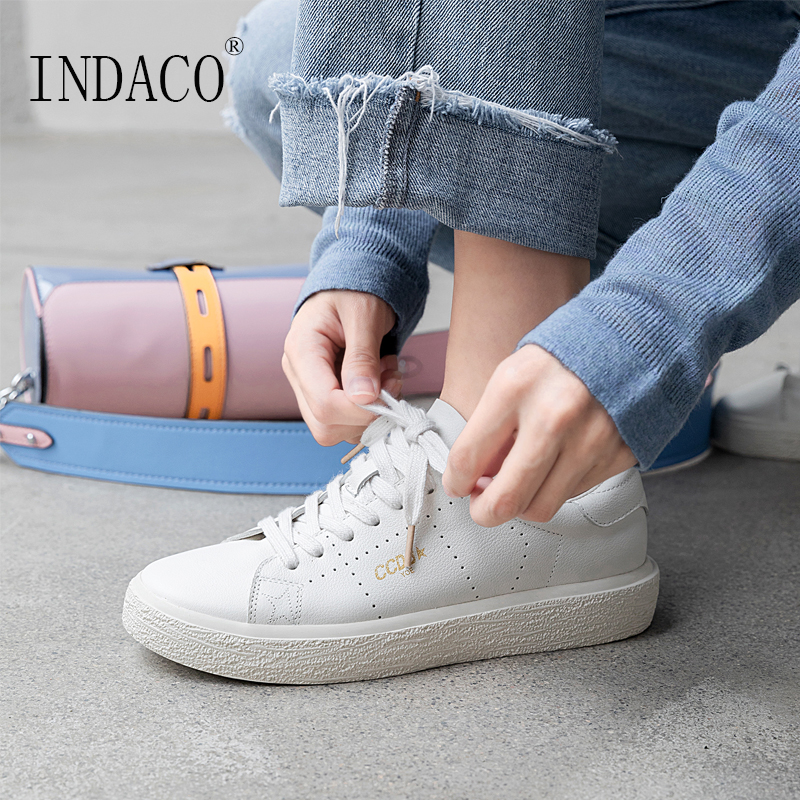 2019 White Sneakers Leather Women Shoes Lace Up Off 2.5cm