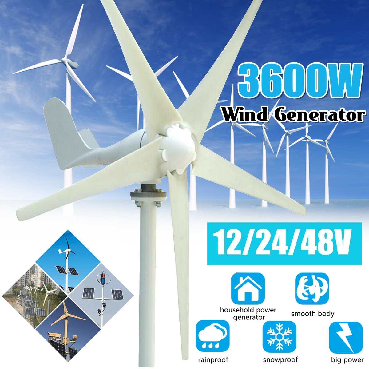 3600W Wind Turbines Generator+ Wind Controller 12V 24V 48V 5 Blades Horizontal Axis Permanent Magnet Generator for Home Street