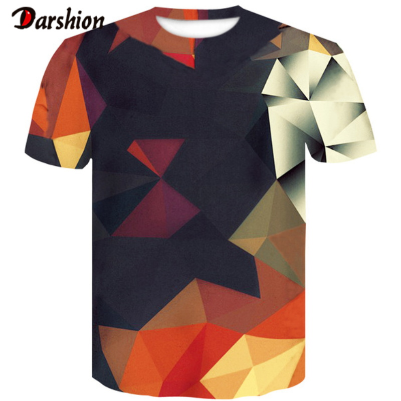 New Fashion Punk T Shirt Colorful Geometric Square T-Shirt Men Tshirt Heavy Metal Tops 3D Cool Unique Print Dress Male Tops Tees