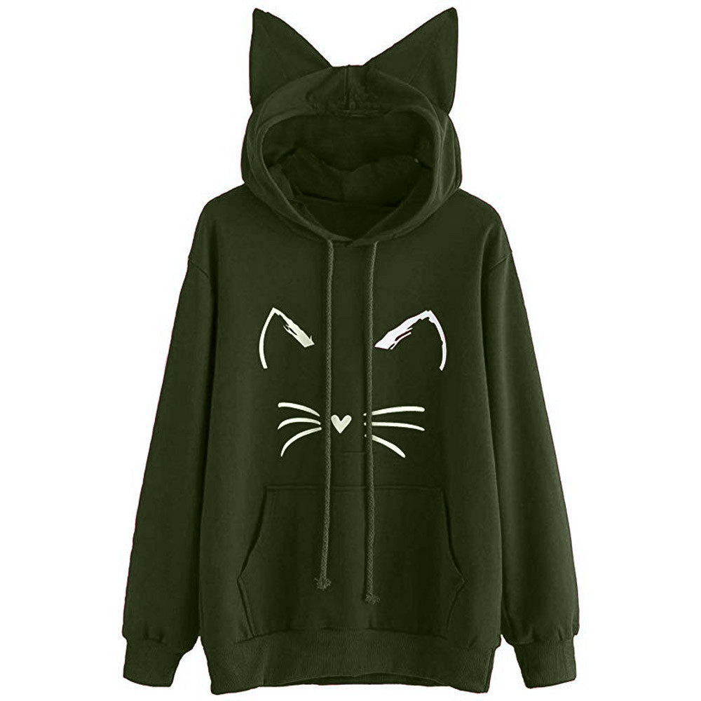 Hoodie Womens Cat Ear Solid Color Long Sleeve Hoodie Sweatshirt Hooded Pullover Blouse Bts-bangtan Kpop Casual Tops High Quality