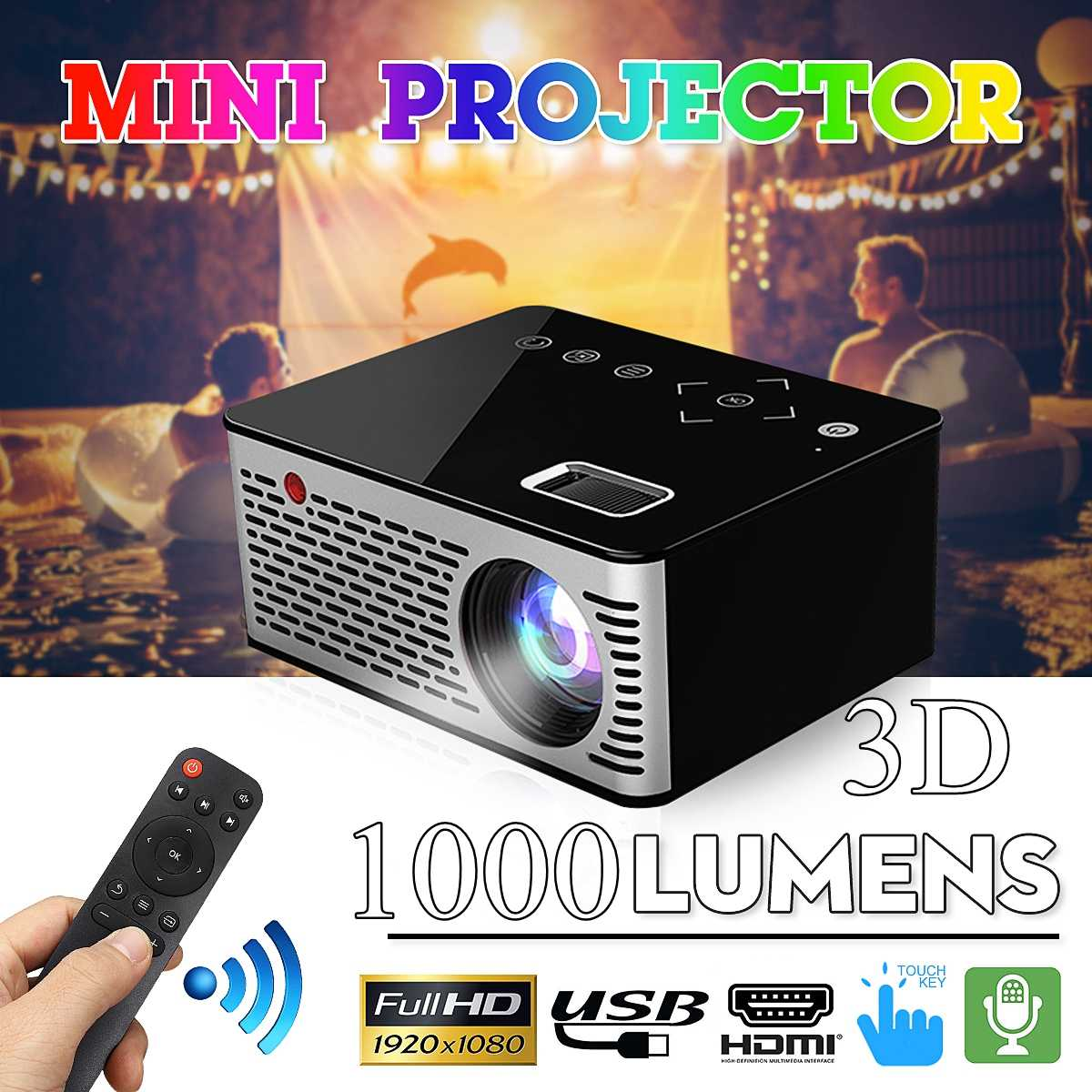 2019 Newest Android Mini Projector 1280*720P Support 4K Videos Via HDMI Home Cinema Movie LED Projector Portable Projector