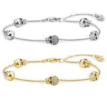 Браслеты цепочки с золотым черепом браслеты из стерлингового