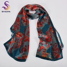 [BYSIFA] New Red Blue Brand Silk Scarf Shawl Women Luxury 100% Long Scarves Spring Fall Birds Design Ladies Fashion