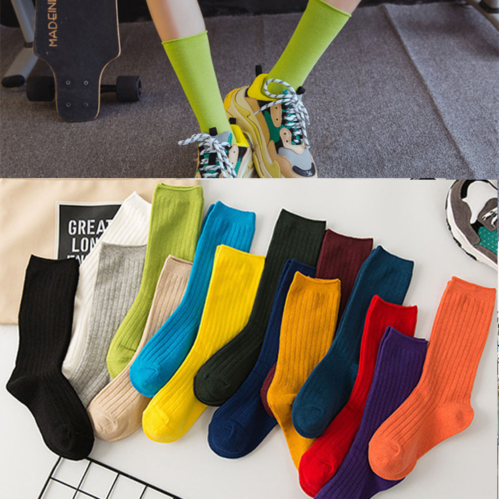 1Pair New Autumn Winter Wear Heap socks Cute Cotton Solid Color School Style Long Soft Piles Socks Edge Curl Stocks For Women Gi