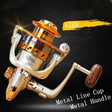 2000 Series 12 Ball Bearing 5.5:1 Gear Ratio Fishing Reels Saltwater Freshwater Spinning Wheel with Metal Line Cup & Handle 7000 series 12 ball bearing 5 2 1 fishing reel saltwater freshwater spinning fishing wheel with metal line cup