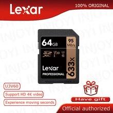Scheda SD Lexar originale 633x16G 64GB 32GB 128GB scheda flash SDHC/SDXC U3 classe 10 256GB scheda di memoria sd per videocamera DSLR HD