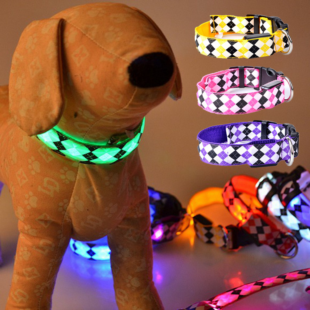 Dog Neck Ring USB Charging LED Shining Small Dogs Pet Traction Neck Ring