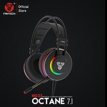 Fantech fone de ouvido gamer hg23, fone de ouvido personalizado com octane 7.1 rgb usb com fio, protetores de liga para jogos, para pc, ps4, headphones para jogos