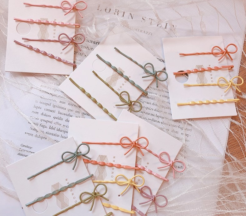 New 4Pcs/set Korea Simple Girl Frosted Hairpin Candy Color Cross Side Clip Word Clip Hair Clamp Bow Hair Clip For Women Hair