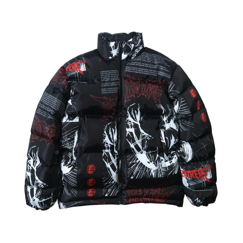 2019 Hip Hop Jacket Parka Japanese Cartoon Graffiti Streetwear Men Windbreaker Harajuku Winter Padded Jacket Coat Warm Outwear