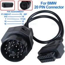 OBD OBD II Adapter dla BMW 20 Pin do 16 pinowe złącze żeńskie E39 E36 X5 Z3 dla BMW 20 Pin kabel