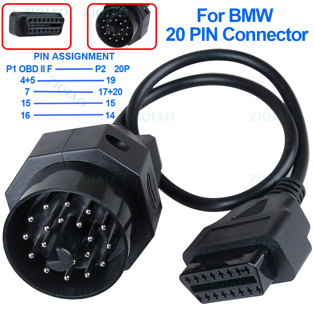 OBD <font><b>OBD2</b></font> Adapter for <font><b>BMW</b></font> <font><b>20</b></font> <font><b>PIN</b></font> to 16 <font><b>PIN</b></font> Female Connector E39 E36 X6 X5 Z3 for <font><b>BMW</b></font> 20pin OBD II Car Diagnostic Cable image