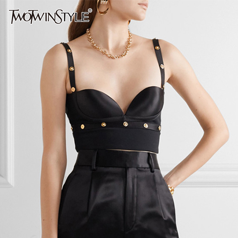 TWOTWINSTYLE Sexy Patchwork Sequined Woemn Vest V Neck Spaghetti Strap Short Slim Backless Tank Female Clothing 2020 Spring Tide