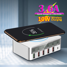wireless travel pd Ports Smart QC 3.0 USB Charger Charging Multi-Port Travel LCD Digital Display Station