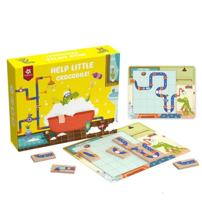 Ajuda pequeno crocodilo labirinto iq puzzles jogos brinquedos para crianças melhorar lógica capacidade de pensamento puzzle 30 desafio com solução