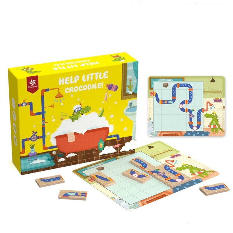 Help Little Crocodile Maze IQ Puzzles Games Toys For Children Improve Logical Thinking Ability Puzzle 30 Challenge With Solution