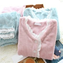 купить Fashion Women Flannel Pajamas Set Winter Autumn Warm Pajama Sleepwear Pink Pajamas Thick Lace Sleepwear дешево