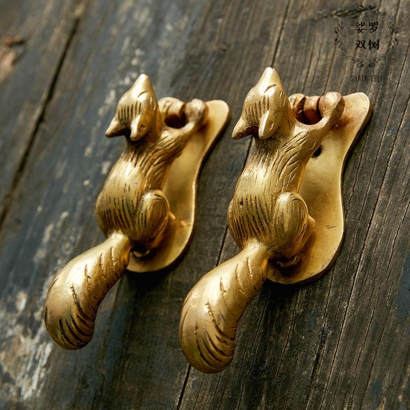 1 pièce écureuil poignée en laiton fait à la main armoire porte poignée chambre salon porte accessoire inde Style livraison gratuite