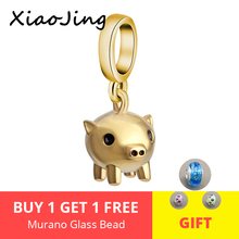2019 New 925 Sterling Silver Gold Pig Charms Lucky Piggy Beads fit Pandora Bracelets DIY Jewelry Making free shipping