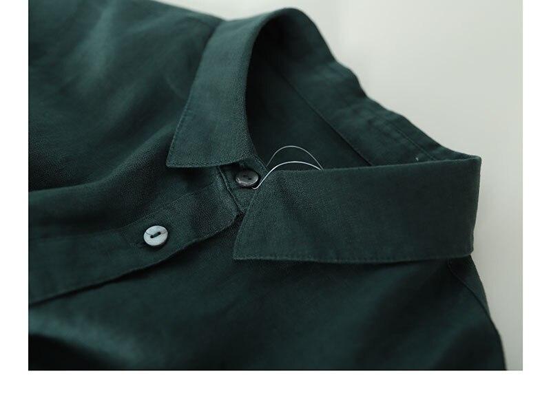 Printemps automne nouveaux arrivants femmes lâche Style japonais Mori fille doux confortable lavé à l'eau 14*14 robes de chemise en lin 4 couleurs - 3