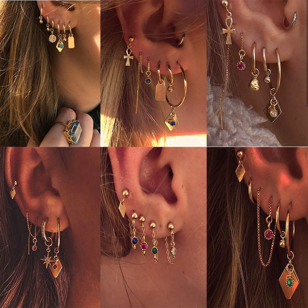 YC-UPGO New Boho Vintage Geometric Gold Drop Earrings For Women Colorful Crystal Chain Star Sun Cross Earring Set Female Jewelry