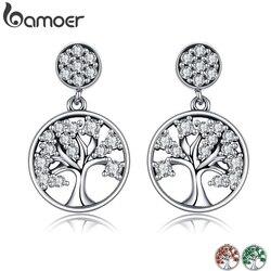 Bamoer genuine 100% 925 prata esterlina árvore da vida, aaa zircão gota brincos para mulher jóias de prata esterlina brincos sce067