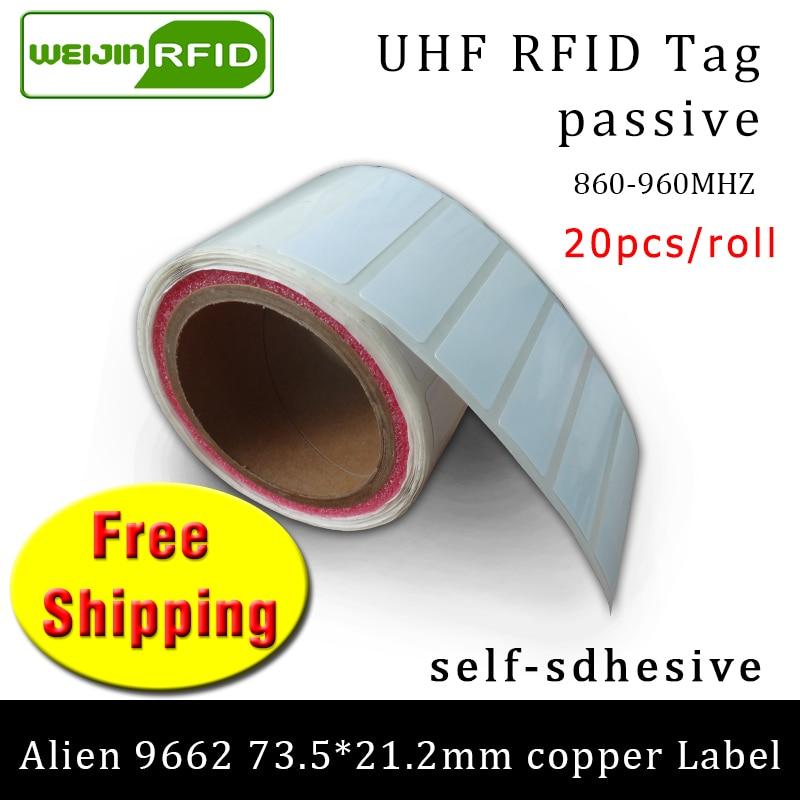 UHF RFID Tag Sticker Alien 9662 Printable Copper Label 915mhz 868mhz Higgs3 EPC 6C 20pcs Free Shipping Adhesive Passive RFID Lab