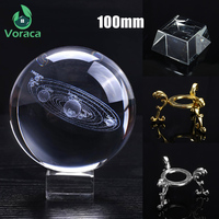 K9 100mm 3D Crystal Ball with Holder Rack Home Decor Glass Globe Solar System Crystal Ball Photography Prop Tabletop Ornament