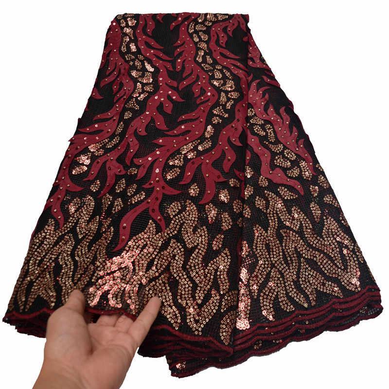 MIQIER 2020 wysokiej jakości afrykańskie cekiny koronki tkaniny ślub nigeryjski Party Dress kobiety francuski Tulle koronki szwajcarski 5 metrów FLP-1081