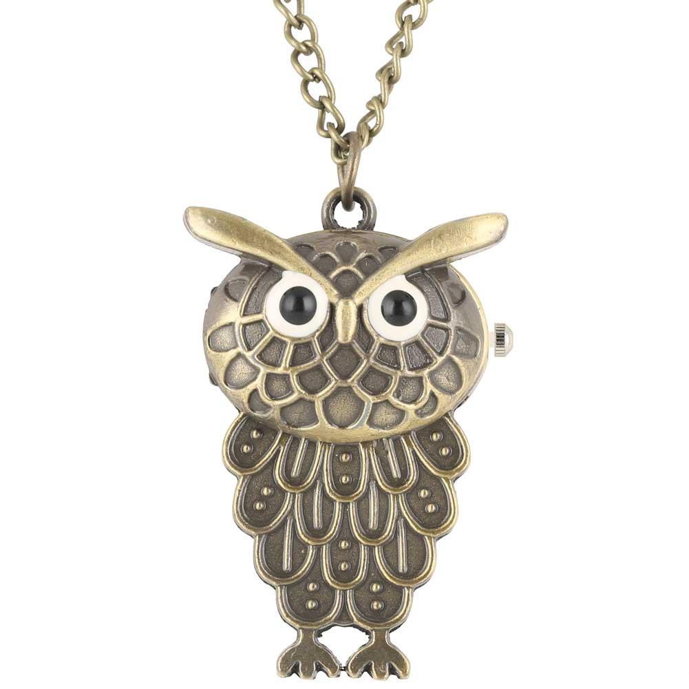 Owl Pocket Watches Clock Female Zakhorloge Necklace Chain Male Quartz Pendant Watch Kids Christmas Gift Montre De Poche