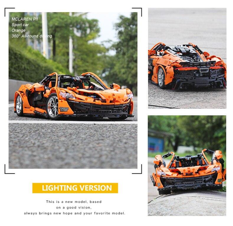 1 to 8 ratio 13090 Technic Series McLaren P1 Orange Racing Car Set APP RC Model Building Blocks Power Motor Function Toys 20087 38
