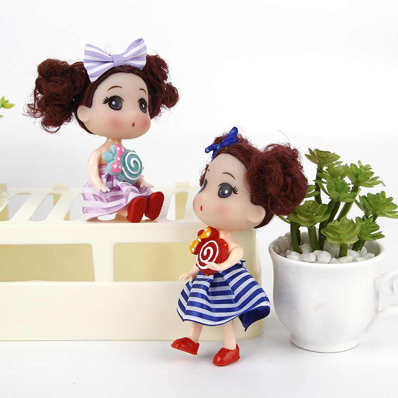 12cm encantadoras Mini muñecas de princesa juguete vestido de boda niña llaveros de muñecas decoración de boda lindo bebé niños regalos de cumpleaños