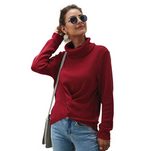 Echoine womens sweater turtleneck solid color autumn female cardigan Winter clothes pullover long sleeve pink red blue gray