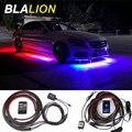 4 stücke Auto Underglow LED Licht Kit Unterboden Streifen Beleuchtung LED RGB Rock Lichter Sound Aktive Funktion Drahtlose Fernbedienung neon