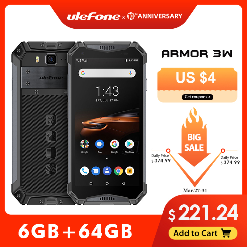 Ulefone Armor 3W Waterproof Rugged Mobile Phones 2.4G/5G WiFi Android 9.0 Helio P70 6G+64G NFC Global Version 4G-LTE Smartphone